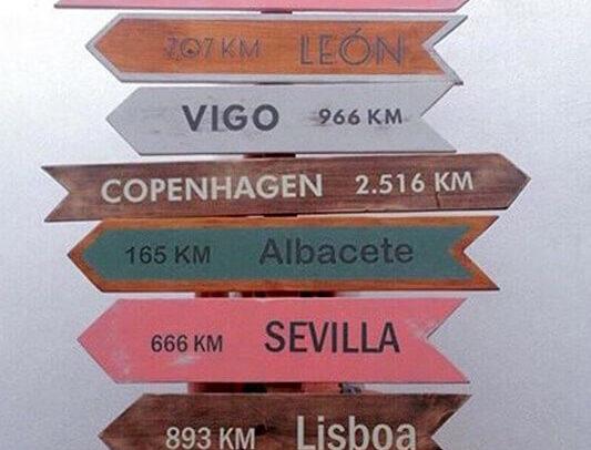 Carteles con los nombres de distintas ciudades